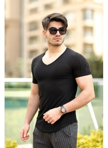Cool Wear Cool&Wear 12101 Basic V Yaka Fermuar Detaylı Siyah T-Shirt Siyah